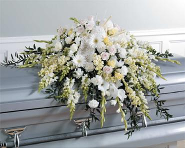 White Garden Casket Spray