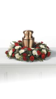 Red and White Urn Arrangement