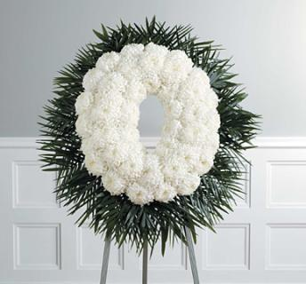 white chrysanthemum wreath