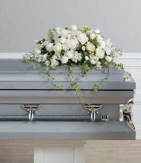 Peaceful White Casket Spray
