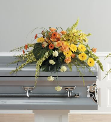 Bright Yellow and Orange Casket Spray