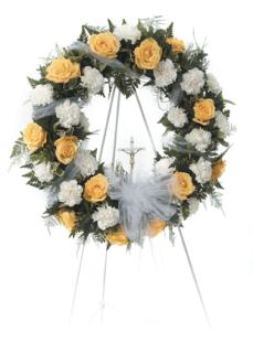 Yellow Roses and White Carnation Wreath