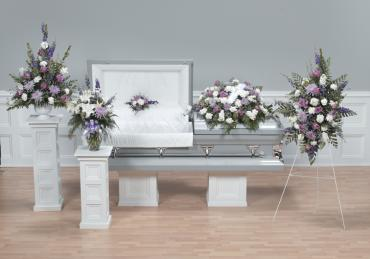 White and Lavendar Funeral Flower Package