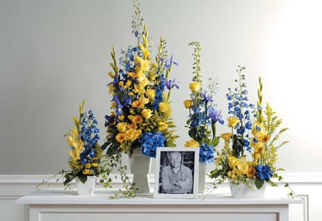 Blue & Yellow Memorial Arrangement