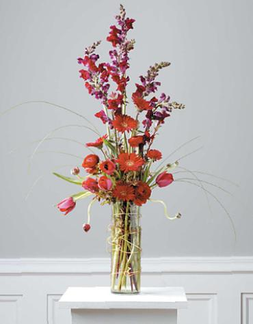 Red Arrangement in Cylinder Vase